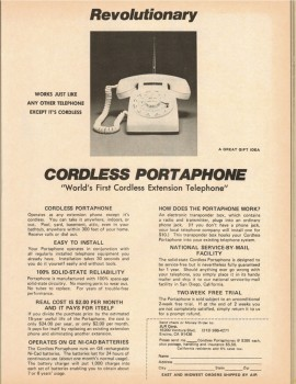 First Cordless Phone : 1976