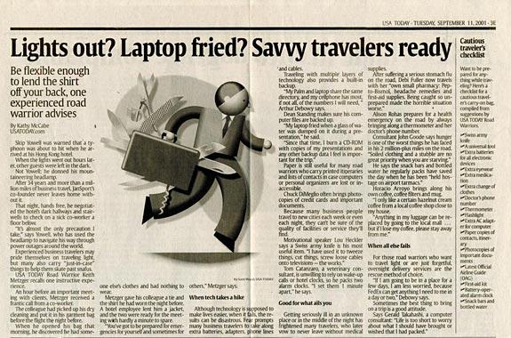Traveler checklist USAToday Sept-11-2001