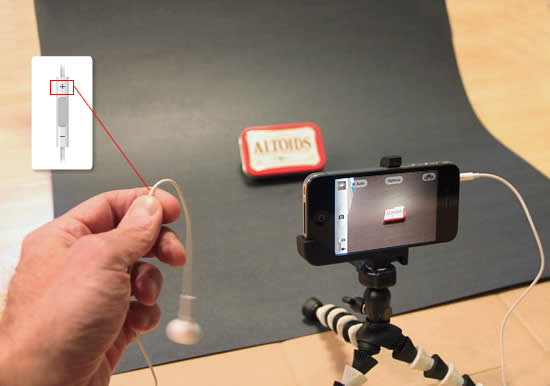 iPhone camera remote release, tripod