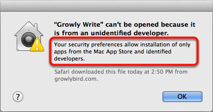 Prevented from opening unidentified Mac application