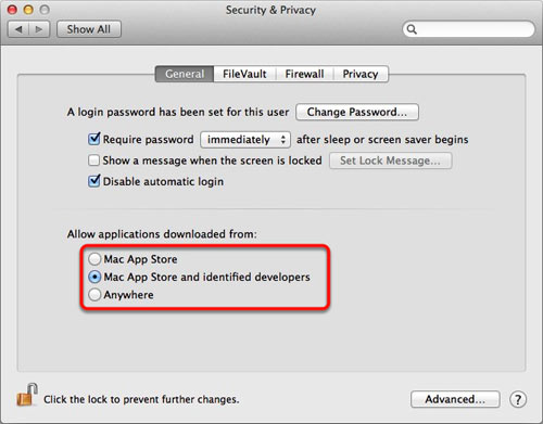 Mac OS X app download settings