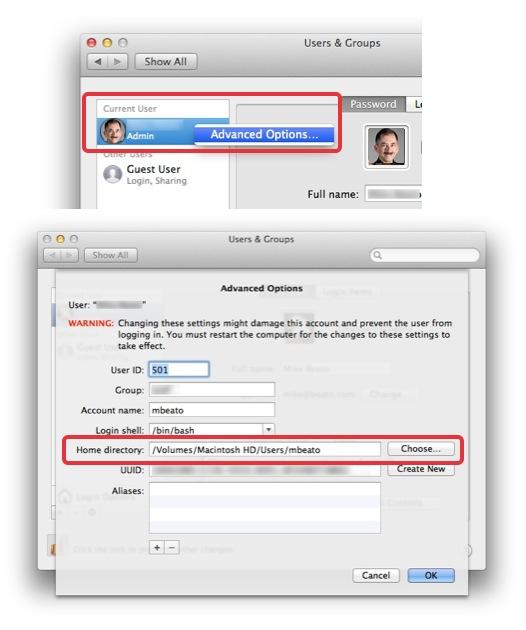 Assign Mac home folder