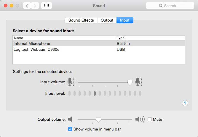 Mac OS X Sound System Preference