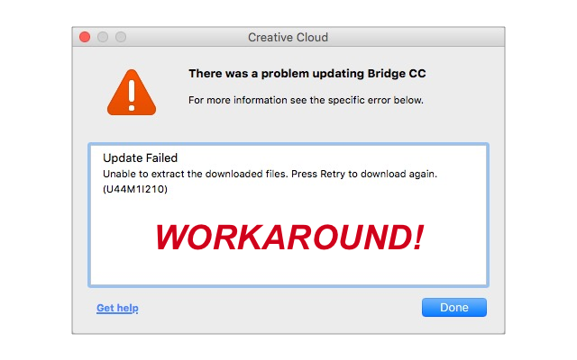 How to get around the Adobe Creative Cloud Application U44M1I210 error